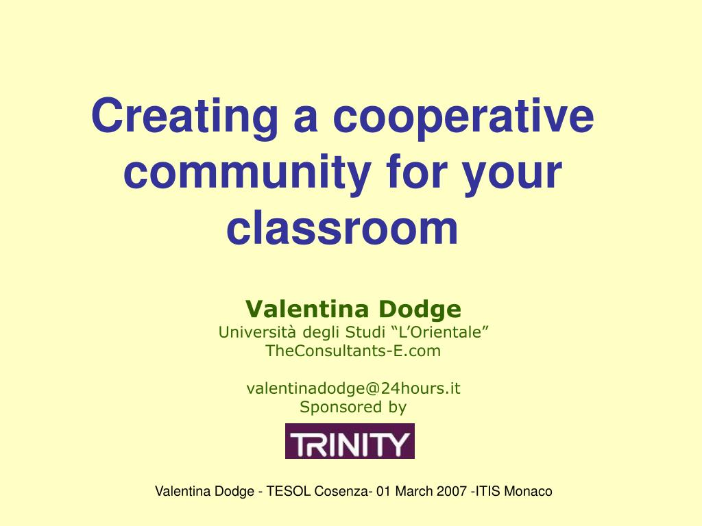 creating a cooperative community for your classroom l.