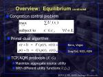 overview equilibrium continued
