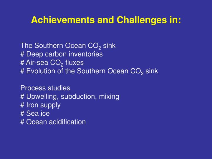 Achievements and challenges in