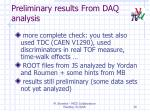 preliminary results from daq analysis