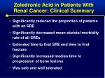 zoledronic acid in patients with renal cancer clinical summary