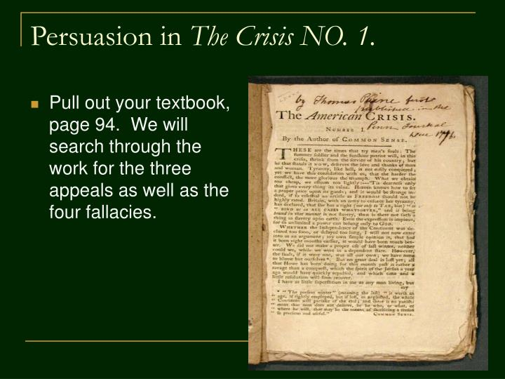 thomas paine crisis no 1 The crisis, no by thomas paine about the reading although the colonists had declared their independence in 1776, the year had been rough for the.