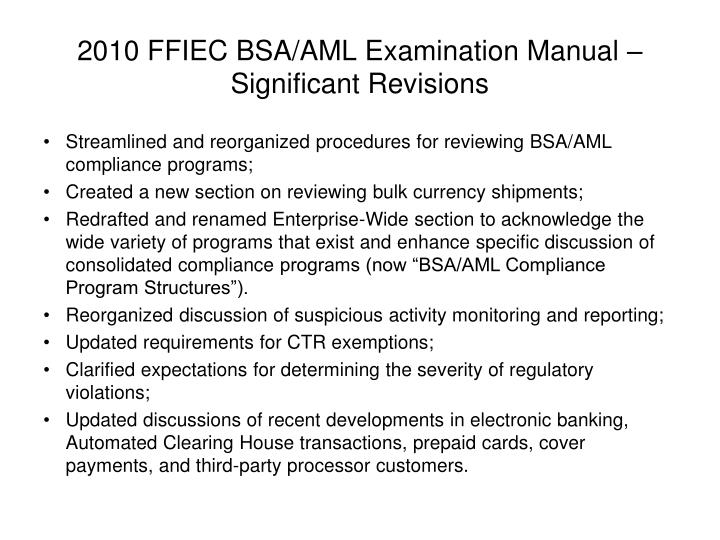 ppt revisions to the ffiec bsa aml examination manual and federal rh slideserve com ffiec bsa aml exam manual 2014 ffiec bsa/aml examination manual 2016