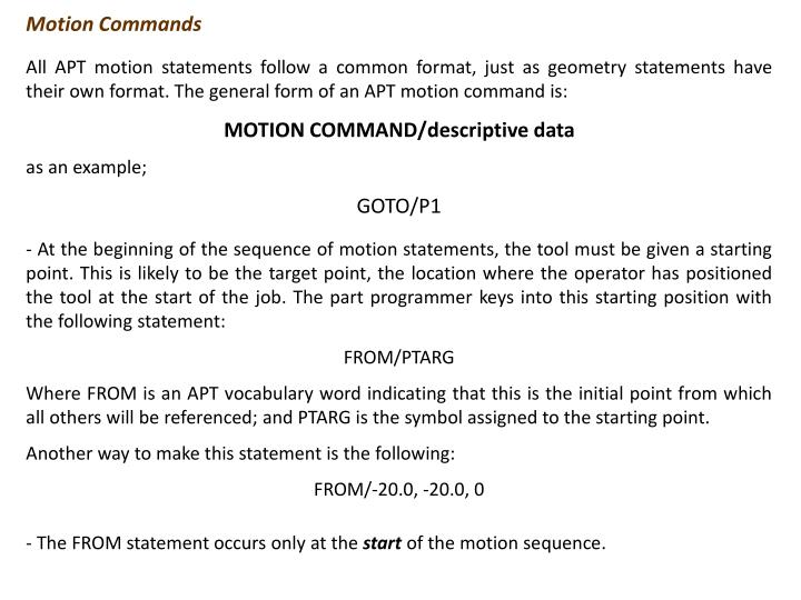 Motion Commands