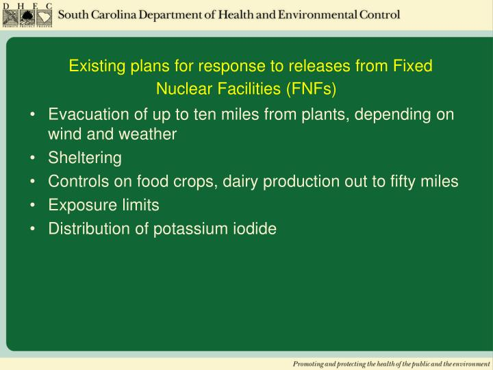 Existing plans for response to releases from Fixed Nuclear Facilities (FNFs)