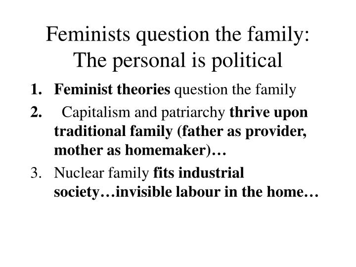 Feminists question the family: The personal is political
