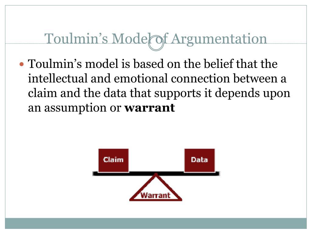 ppt toulmins model of argumentation powerpoint presentation toulmin s model of argumentation1 l toulmin s model