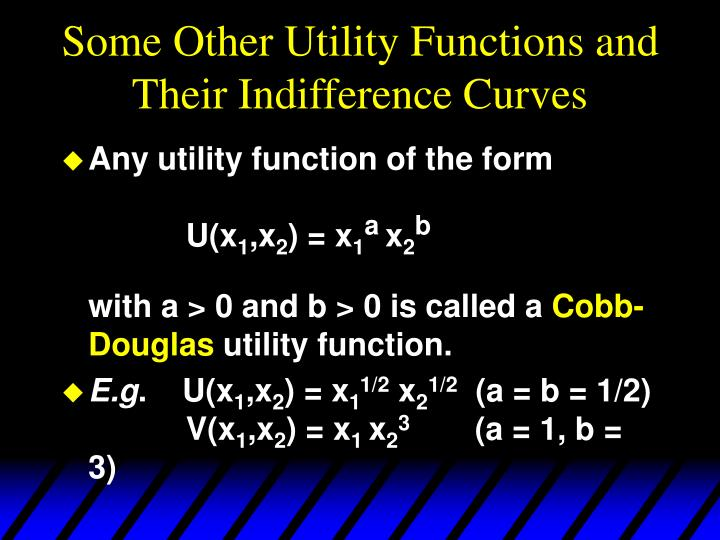 Some Other Utility Functions and Their Indifference Curves