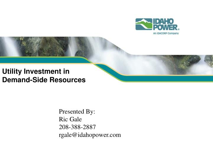 utility investment in demand side resources n.
