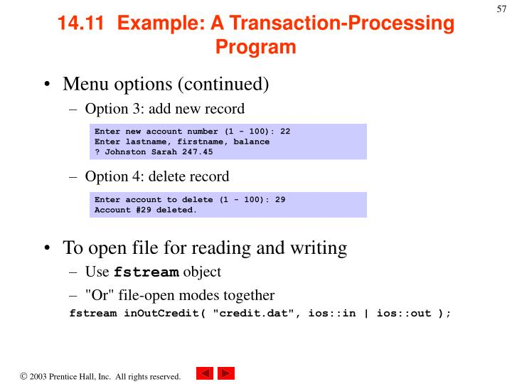 14.11  Example: A Transaction-Processing Program