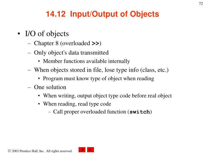 14.12  Input/Output of Objects