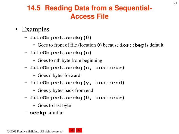 14.5  Reading Data from a Sequential-Access File