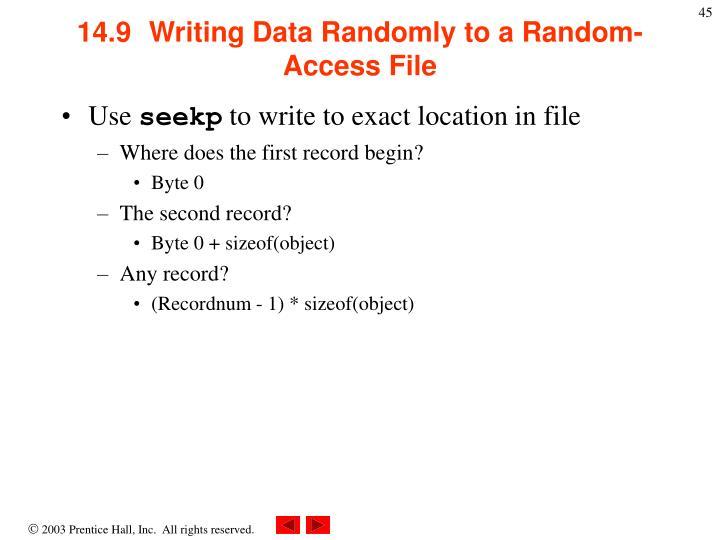 14.9  Writing Data Randomly to a Random-Access File