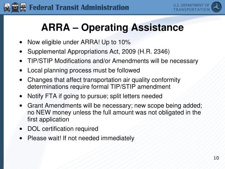 ARRA – Operating Assistance