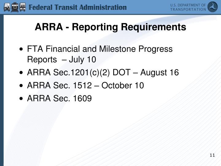 ARRA - Reporting Requirements
