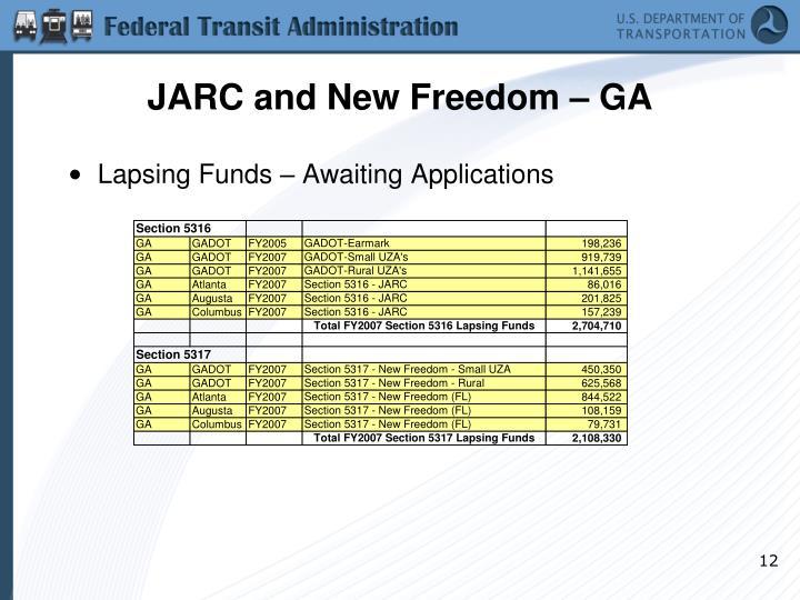 JARC and New Freedom – GA