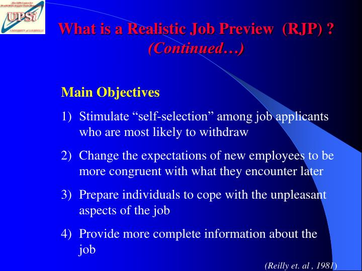 What is a Realistic Job Preview  (RJP) ?