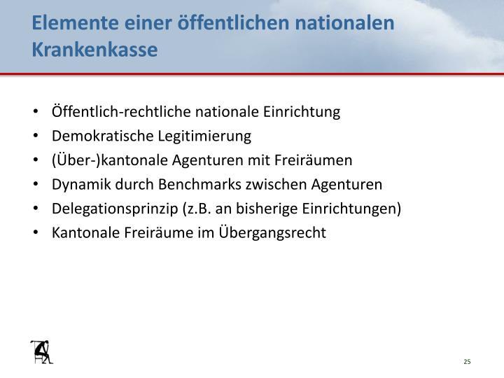 Elemente einer öffentlichen nationalen Krankenkasse