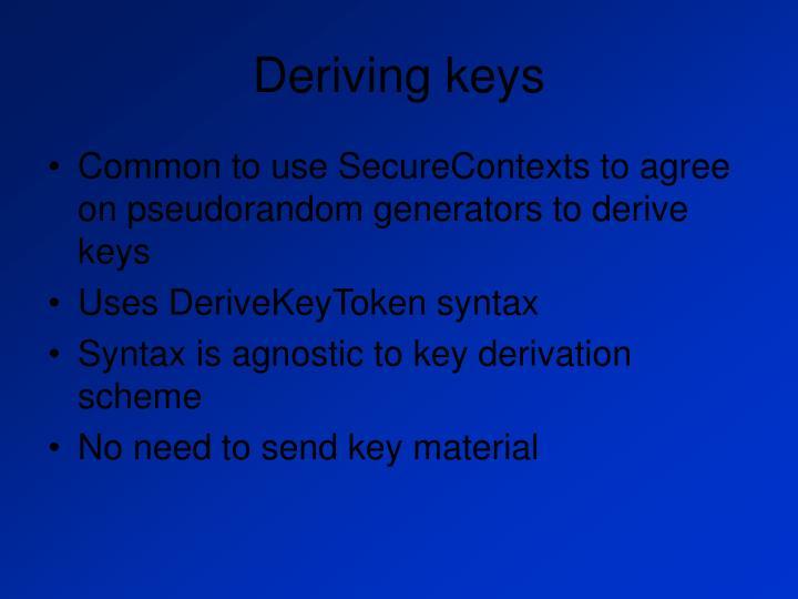 Deriving keys