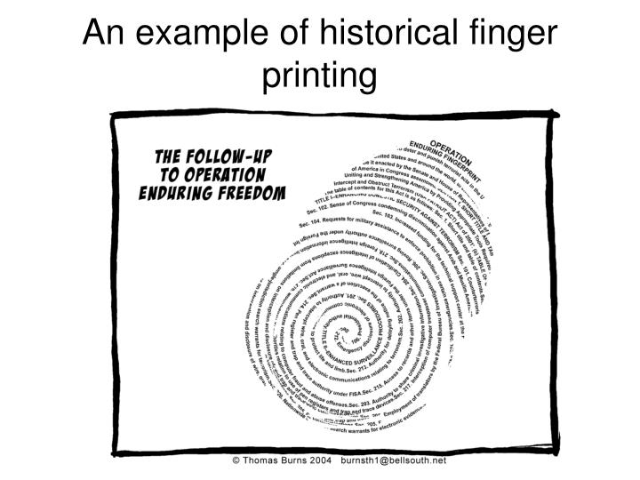An example of historical finger printing