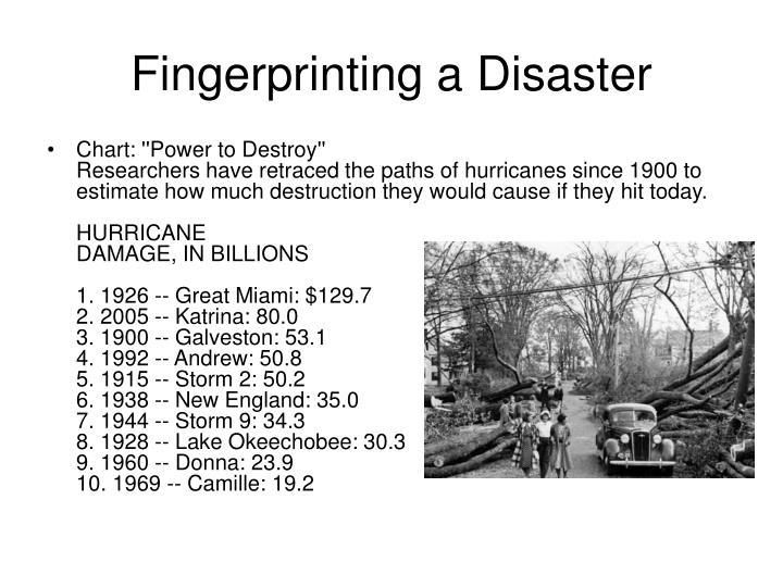 Fingerprinting a Disaster