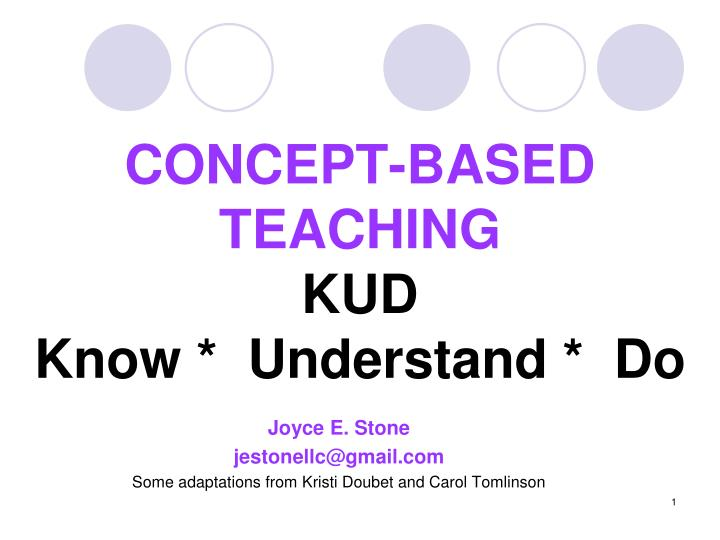 concept based teaching kud know understand do n.