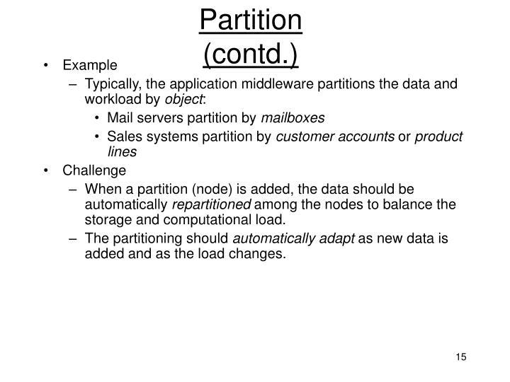 Partition (contd.)