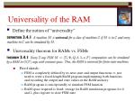 universality of the ram