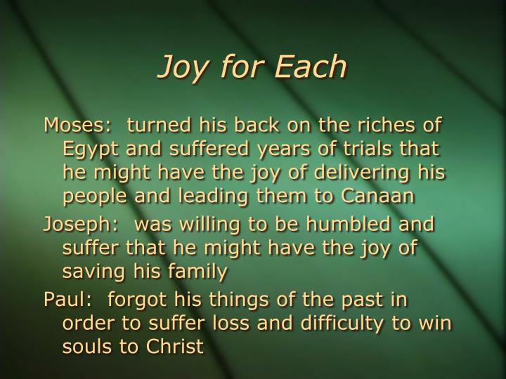 Joy for Each