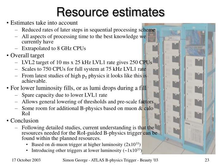 Resource estimates