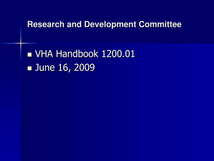 research and development committee n.