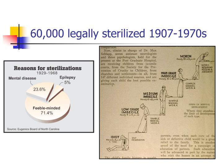 60,000 legally sterilized 1907-1970s