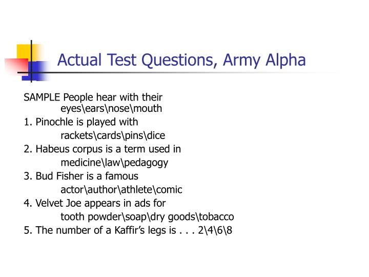 Actual Test Questions, Army Alpha