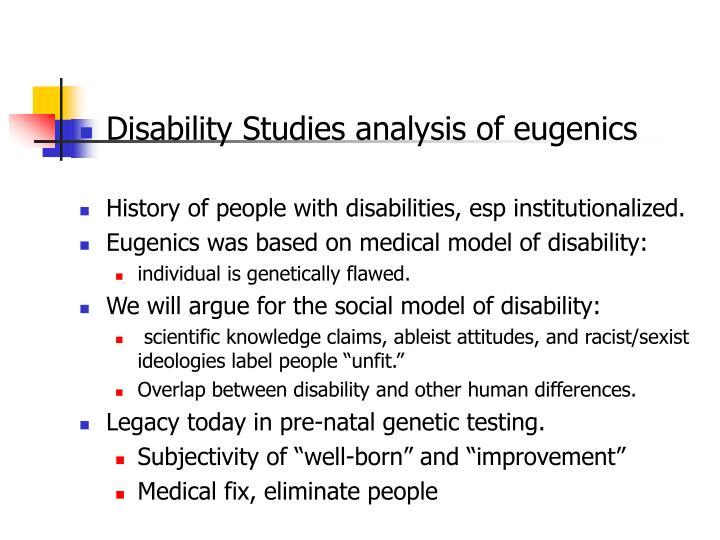 Disability Studies analysis of eugenics