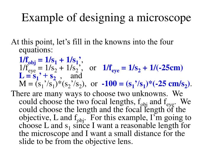 Example of designing a microscope