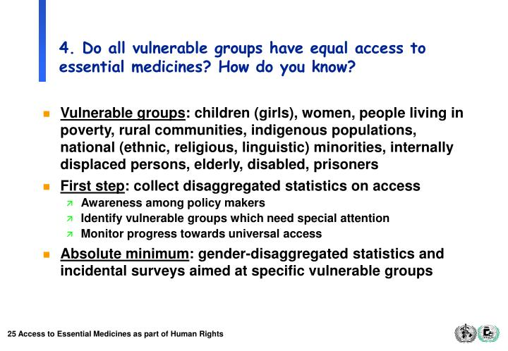 4. Do all vulnerable groups have equal access to essential medicines? How do you know?