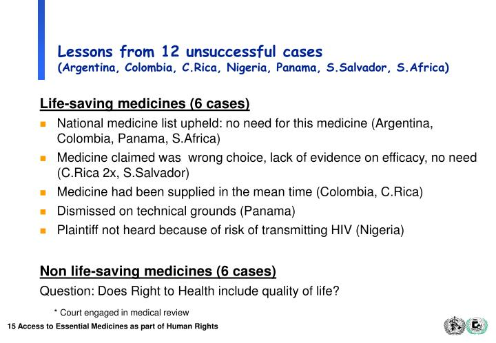 Lessons from 12 unsuccessful cases