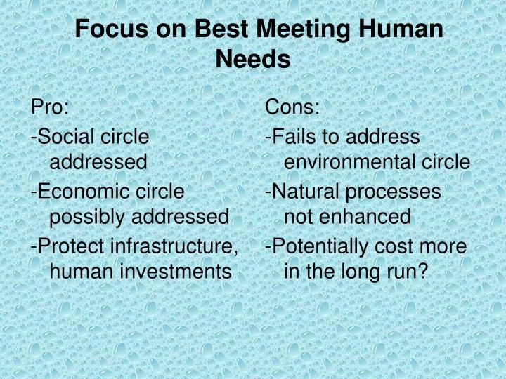 Focus on Best Meeting Human Needs