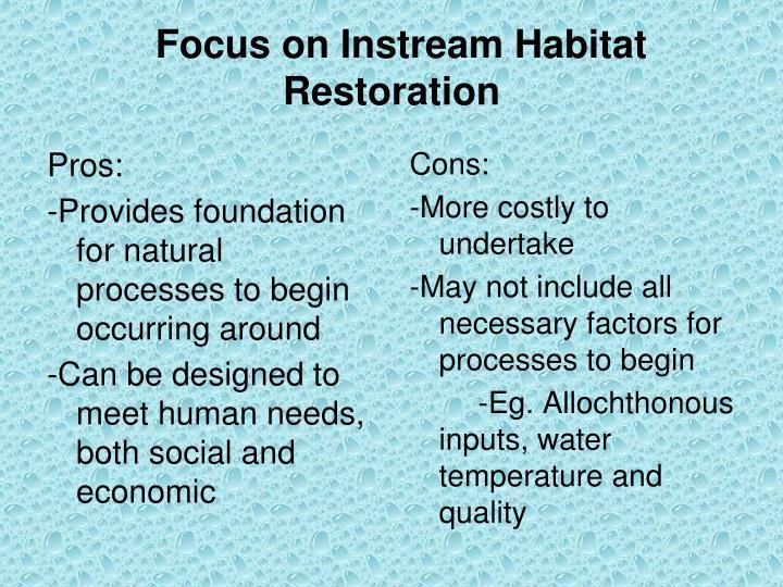 Focus on Instream Habitat Restoration