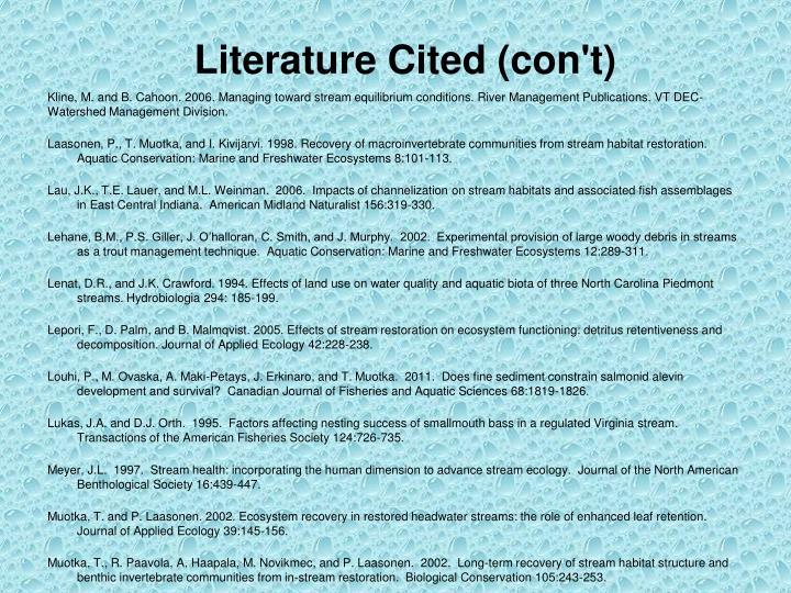 Literature Cited (con't)