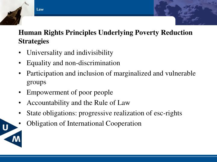 Human Rights Principles Underlying Poverty Reduction Strategies