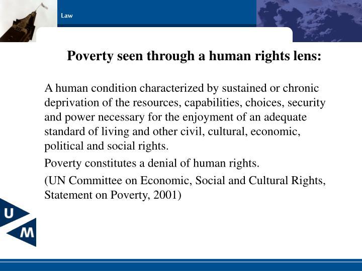 Poverty seen through a human rights lens: