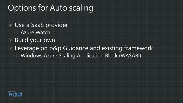 Options for Auto scaling