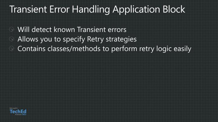 Transient Error Handling Application Block