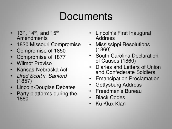 PPT - The Civil War and Reconstruction (1850-1877