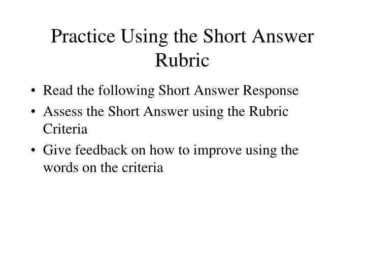 Practice Using the Short Answer Rubric