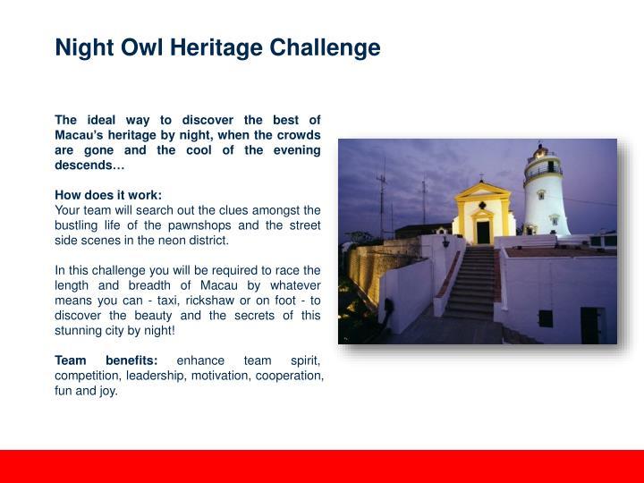 Night Owl Heritage Challenge