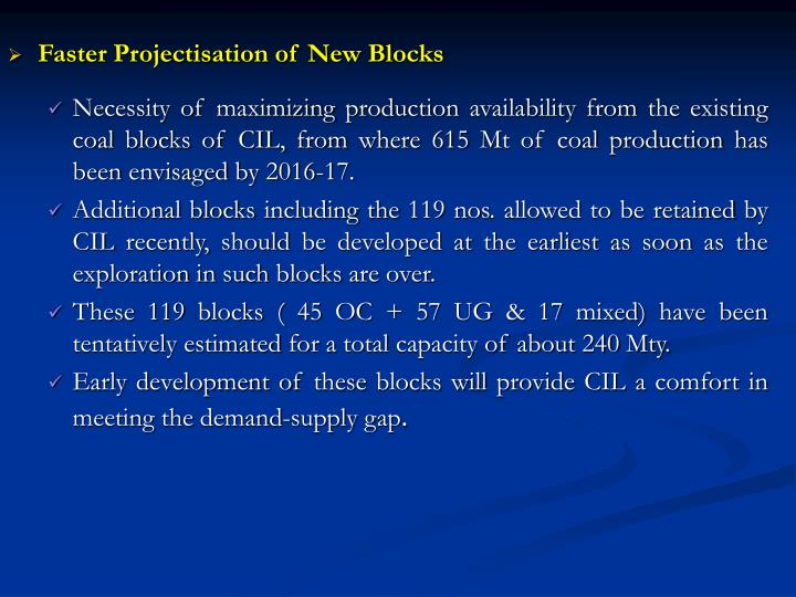 Faster Projectisation of New Blocks