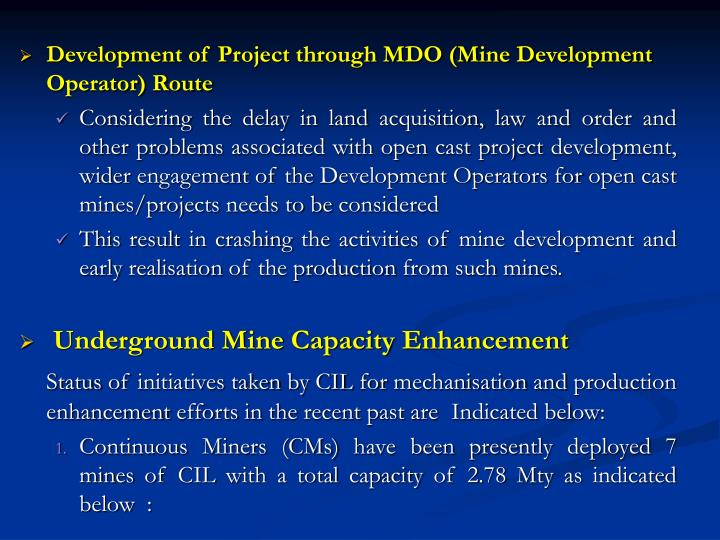 Development of Project through MDO (Mine Development Operator) Route