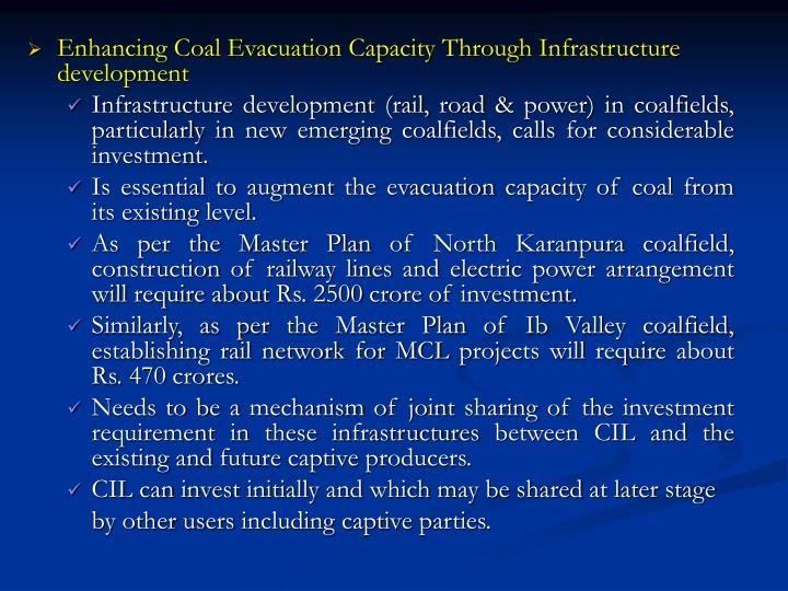 Enhancing Coal Evacuation Capacity Through Infrastructure development